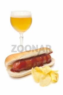beer and sausage sandwich