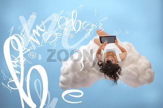 Relaxed girl connecting to cloud computing