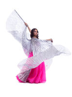 woman in oriental dance with wings isolated
