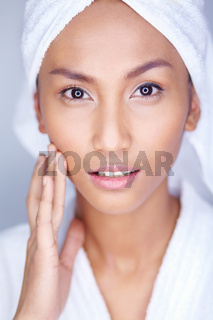 Beautiful woman facial skin care, silky smooth skin