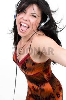 Female listing to music