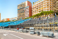 Tribune. Preparation to Formula 1 Monaco Grand Prix