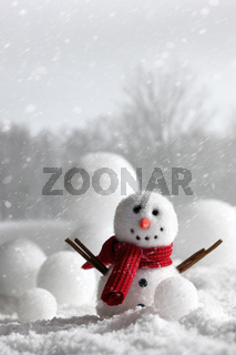 Snowman with wintery background