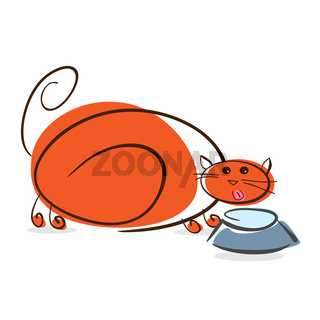 Plump red cat drinking milk. Illustration