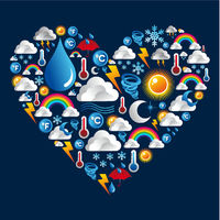 Weather icons set in heart shape