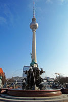Neptun Fontain and TV Tower Berlin Germany