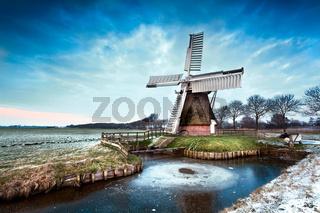 Dutch windmill in winter