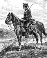 Historical drawing, a Prussian Hussar, Franco-Prussian War or Fr