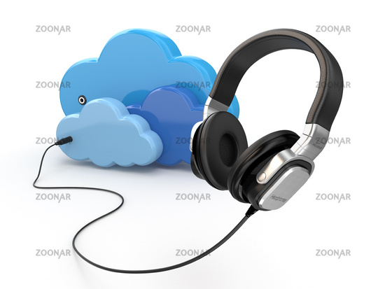 Cloud computing multimedia concept. Headphones and clouds.