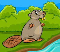 funny beaver cartoon illustration