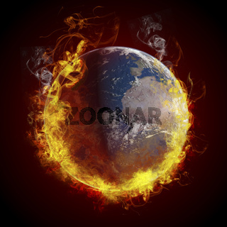 global warming concept. Planet Earth burning, fire