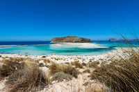 Beautiful sandy Beach with an the Island Gramvoúsa