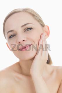 Closeup portrait of sensuous young woman