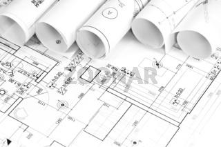 Rolled blueprints