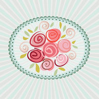 Gift card with roses flowers. Vector eps10 floral illustration for wedding invitation, birthday, valentine day or other life events