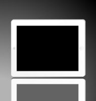 Illustration of the turned off white computer tablet