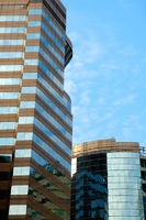 A perspective view of commercial building over sky