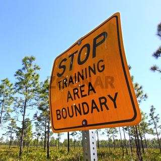 Stop Training Area Boundary Sign