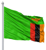 Waving flag of Zambia