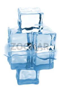 Three ice cubes with water