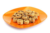 Rusks with sesame seeds and olives