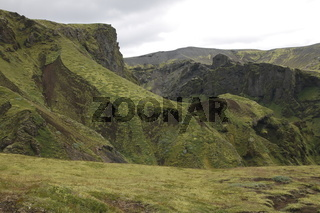 Landscape in the surroundings of the Þakgil (Thakgil) camping site