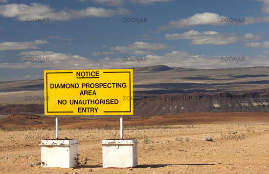 Prohibition sign at a diamond prospecting area