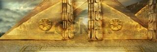 Gate in golden pyramid