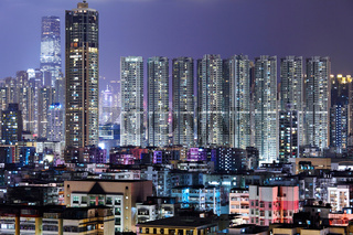 crowded building at night in Hong Kong