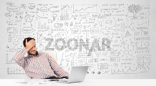 Businessman planning and calculating with various business ideas