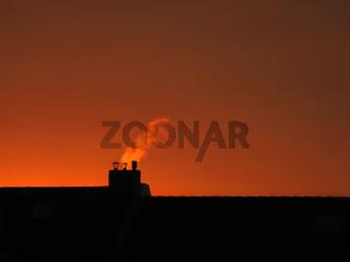 Schornstein im Abendrot / chimney at the afterglow