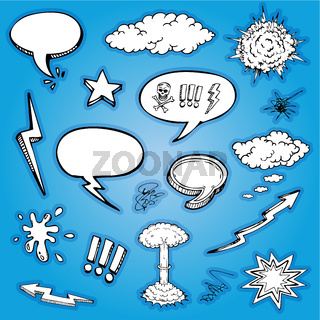 Vector hand drawn cartoon and bubbles collection