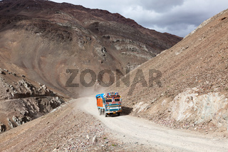 Manali-Leh Road in Indian Himalayas with lorry. Himachal Pradesh