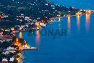 Night summer village on seashore (Pelješac, Croatia)