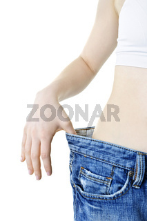 Woman showing weight loss
