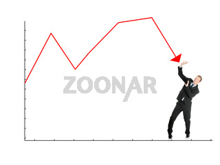 Scared businessman defend himself from falling graph