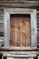 Old wooden rural door close-up