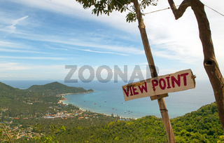 Tropical view point with sign