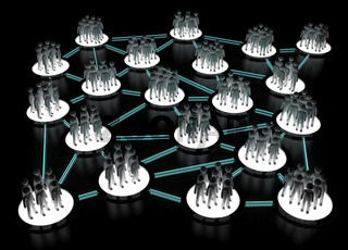Human Network Connection on Black Surface
