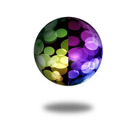 Multi color globe with shadow on white background