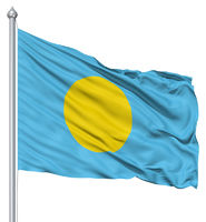 Waving flag of Palau