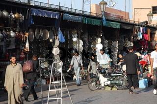 Handicraft stalls. Djemma el-Fna