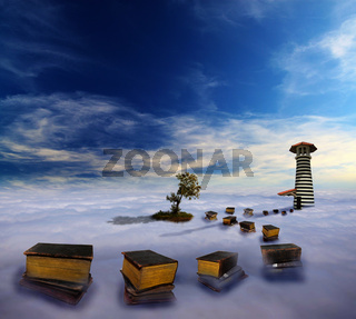 Leuchturm in den Wolken