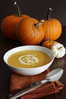 Festive homemade pumpkin soup in a bowl