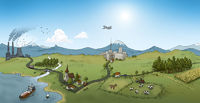 Landscape on sunny day, illustration