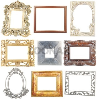 9 different wooden/metallic frames isolated on white background