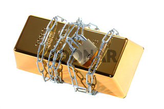gold bullion protected with chain and padlock