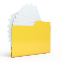 Yellow folder.  Isolated on white background