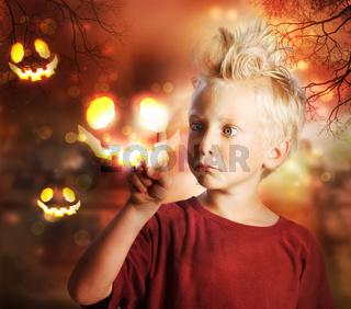 Boy Touching Halloween Ghost