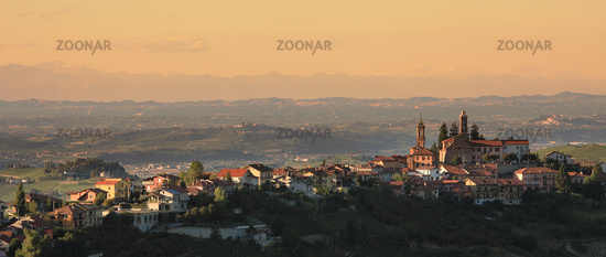 Town on the hill. Piedmont, Italy.